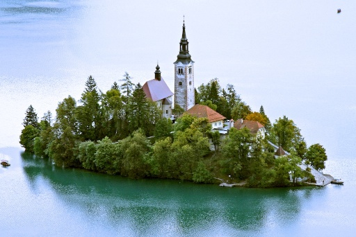 view of island in lake bled